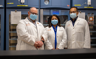 Photo of UTHealth researchers and physicians, from left, Luis Ostrosky, MD; Bela Patel, MD; and Henry Wang, MD, MPH, are leading clinical trials on COVID-19. (Photo by Maricruz Kwon/UTHealth)