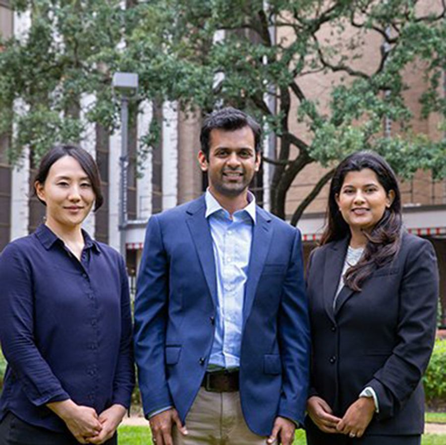 UTHealth School of Public Health researchers from left to right: Ryan Suk, MS; Ashish Deshmukh, PhD, MPH; and Kalyani Sonawane, PhD. Photo by Maricruz Kwon.