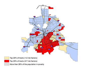 A map of Dallas shows the areas with the highest concentrations of risk factors for severe COVID-19 disease. Image by UTHealth.